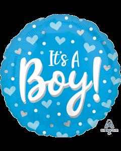 "18"" Baby Boy Hearts & Dots Pkg"