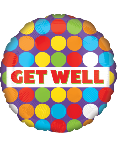 """18"""" Colorful Dots Get Well"""