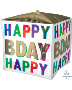 """15"""" Happy Birthday Colors Cubez"""