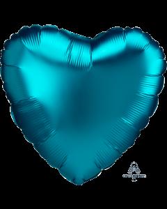"18""Satin Luxe Aqua Heart"