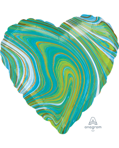 "18"" Blue-Green Marblez Heart"