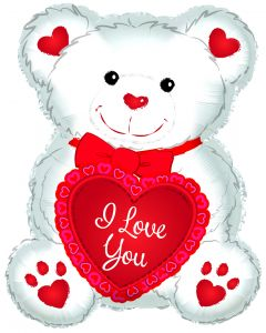 """12"""" Teddy Love Hearts Red Inflated with Cup & Stick"""