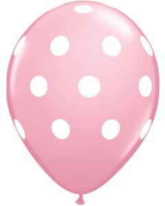 """11"""" Big Polka Dots Pink 50ct"""