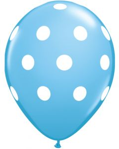"11"" Big Polka Dots Light Blue 50ct"