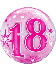 "22"" B'day Pink Starburst 18 Bubble"