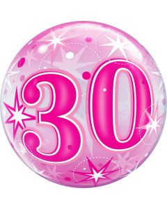 "22"" B'day Pink Starburst 30 Bubble"
