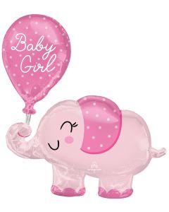 """31"""" Baby Girl Elephant & Balloon"""