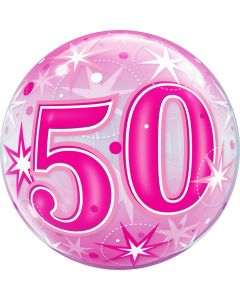"22"" B'day Pink Starburst 50 Bubble"