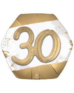 """18"""" Golden 30th Satin B'day Pkg"""