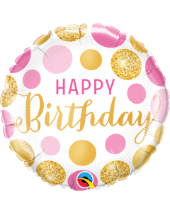 """18"""" Pink & Gold B'day Dots"""