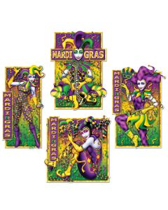 Mardi Gras Mime Cutouts 4ct