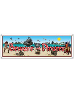 5' Beware of Pirates Banner