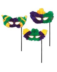 Mardi Gras Fanci-Feather Mask/w Stick