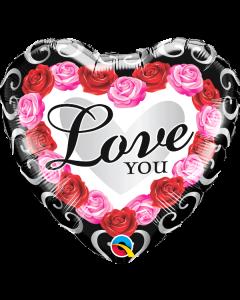 """18"""" Love Red Rose Frame Pkg"""