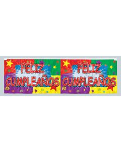 4' Metallic Feliz Cumpleanos Banner