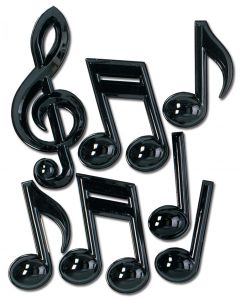 "13"" Plastic Music Notes Bk"