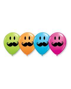 "11"" Smile Face Mustache Assort 50ct"