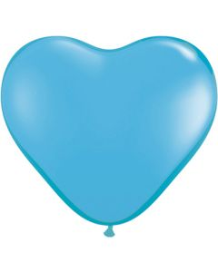"6"" Light Blue Hearts 100Ct"