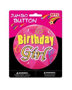 """4"""" Jumbo Birthday Girl Button"""