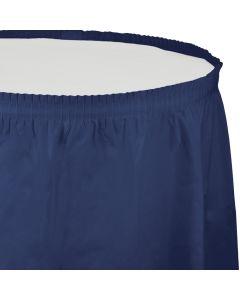 "Navy Blue Table Skirt 13'x29"""