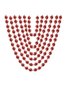 "32"" Metallic Bead Necklace Red 6ct"