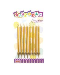 "4"" Metallic Gold Candles 8ct"