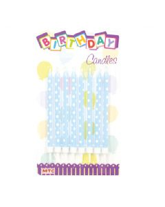 "4"" Polka Dot Candles Light Blue 8ct"