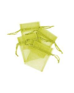 "4"" Organza Pouches Lime  4ct"
