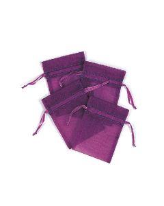 """4"""" Organza Pouches Purple 4ct"""