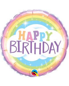 "18"" Pastel Rainbow B'day Pkg"