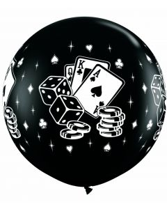 3' Casino Cards & Dice Black 1ct--