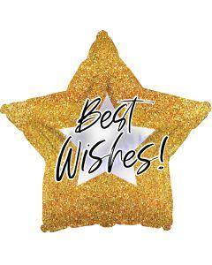 "18"" Best Wishes Gold Glitter"