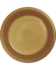 "Metallic Gold 7"" Plates 20ct"