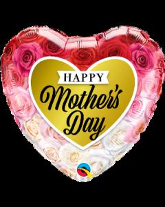 "18"" Mother's Day Roses Gold Heart Pkg"