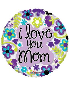 """18"""" Love Mom Flowers Clear View"""
