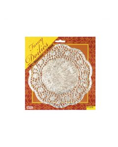 """8"""" Silver Round Doilies 6ct"""