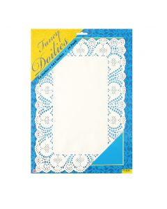 "14"" White Rectangular Doilies 10ct"