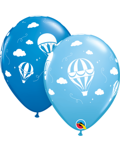 "11"" Hot Air Balloons Blue 50ct"