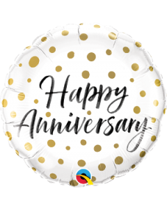 "18"" Anniversary Dots Gold Pkg"