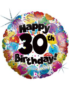 """18"""" Party Balloons B'day 30 Pkg"""