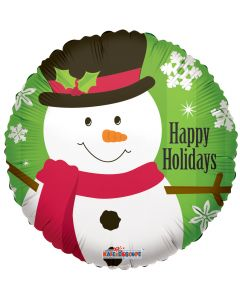 """9"""" Happy Holidays Snowman Inflated with Cup & Stick"""