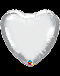 """18""""Silver Chrome Heart"""