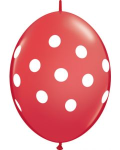 """12"""" Quick Link Polka Dot Red 50ct"""