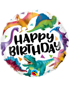 """18"""" Colorful Dinosaurs B'day Pkg"""