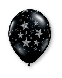 "11"" Glitter Stars Around Onyx Black 25ct"