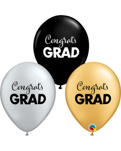 "11"" Simple Congrats Grad  Bk-Sil- Gd 50ct"