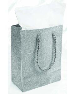 "9""X 7"" Silver Diamond Gift Bag"