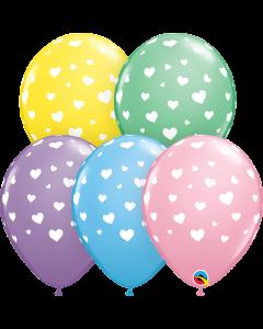 "11"" Random Hearts A-rd Pastel 50ct"